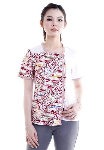 DhieVine Batik white and red and multi Bedana Lereng Abang Blouse Batik F1C08AA0D555F9GS_1