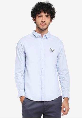 Fidelio 藍色 刺繡長袖牛津襯衫 B5A93AADF79283GS_1