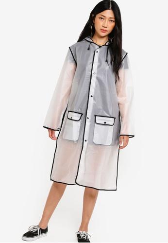 Something Borrowed black and white Contrast Binding Rain Jacket BE130AA69EE6C8GS_1