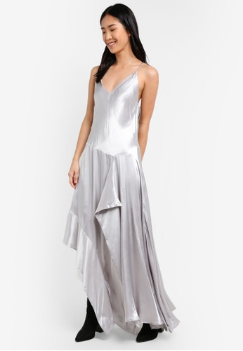 Mango silver Ruffle Metallic Dress MA193AA0S6JMMY_1
