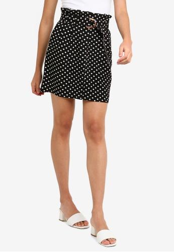 a9549d631337 Miss Selfridge black Black Spot Print Paperbag Skirt 3963DAAEDC5E58GS_1