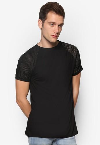 動zalora 內衣感網孔插件短袖TEE, 服飾, 服飾