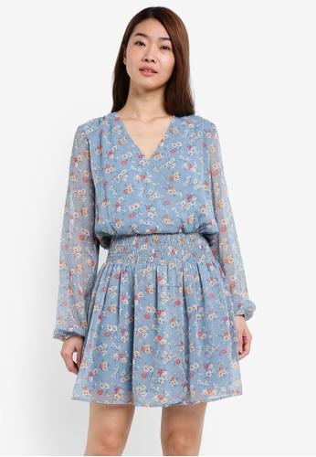 ZALORA blue Wrap Front Smock Waist Dress 9D931AA0DC880DGS_1