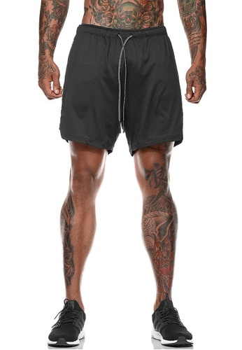 Twenty Eight Shoes black VANSA  Casual Double Layer Sports Shorts VCM-St063 2F93AAA546BB56GS_1