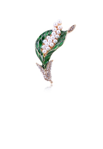 Glamorousky white Fashion Temperament Plated Gold Floral Imitation Pearl Brooch with Cubic Zirconia A5E73AC4E36C73GS_1