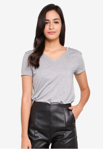Something Borrowed grey V-Neck Studded Top CDA1EAA9E8014CGS_1
