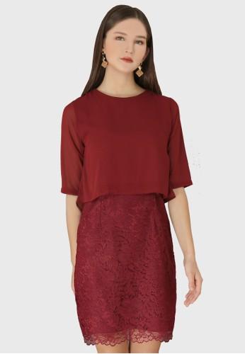 Urban Exchange red Thea Maroon Dress 4D02AAADBBCF52GS_1