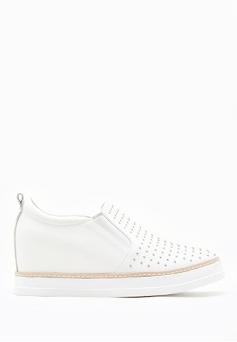 PAZZION white Micro Stud Embellished Wedge Sneakers E5BA2SHCACE3D7GS_1