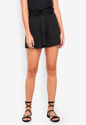 Pieces black Sanne Mid Waist Shorts 6473BAA088AEB5GS_1