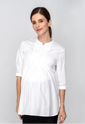 9months Maternity white White Front Pleated Maternity Shirt 49029AADC6FCFFGS_1