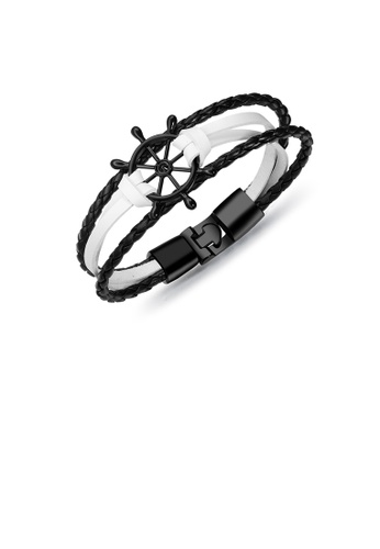 Glamorousky silver Fashion Personality Plated Black Rudder Black and White Multilayer Leather Bracelet 58342AC7C83DD8GS_1