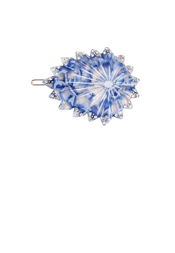 Glamorousky white Fashion High-end Light Blue Geometric Cubic Zirconia Hair Slide DE0D7AC1709451GS_1