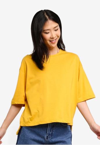 ZALORA BASICS yellow Basic Oversized T-Shirt 42179AA301E68BGS_1