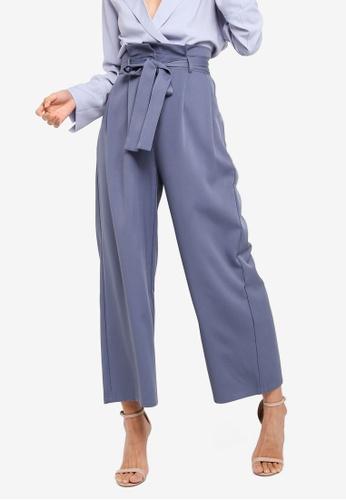 ZALORA grey Wide Leg Cropped Pants 35354AA8375030GS_1