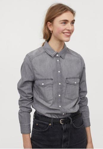 H&M grey Denim Shirt 57A9EAA8478C67GS_1
