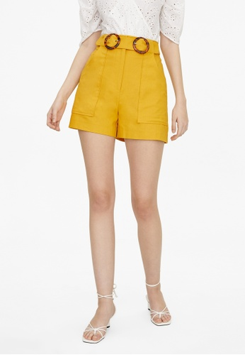 Pomelo yellow Double Buckle Shorts - Yellow BA2B2AA17FC751GS_1