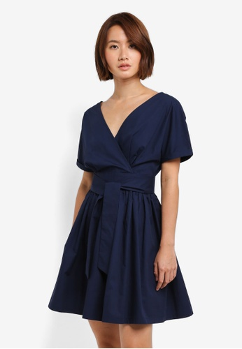 ZALORA navy Wrap Front Fit & Flare Dress F1604AADEF8A53GS_1
