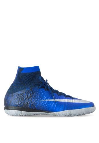 Nike blue and silver MercurialX Proximo CR IC Shoes NI126SH41NLISG_1