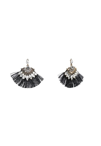 Red's Revenge grey Vintage Fringe Clear Gem Statement Earrings 67B11AC783FFCBGS_1