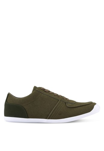 ZALORA green Faux Suede Leather Trainers 939A8SH70B6F22GS_1