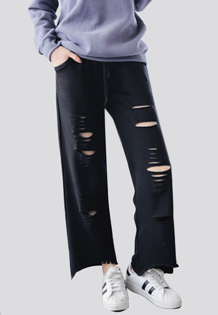 Distressed Hip Drawstring Trousers