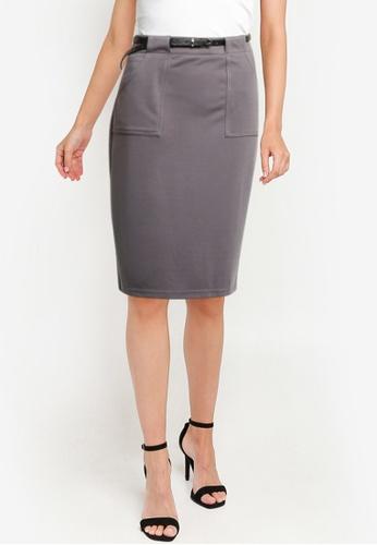 ZALORA WORK grey Belted Pencil Skirt F64FCAADB5D504GS_1