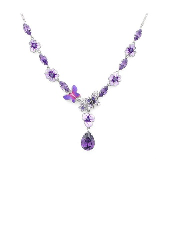 Glamorousky silver Purple Flower and Butterfly Necklace with Purple and Silver Austrian Element Crystals 8232DACBA4F665GS_1