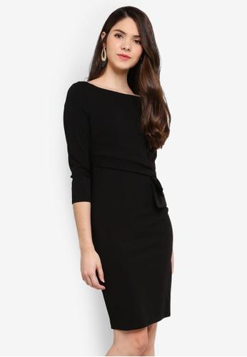 Goddiva black Three Quarter Sleeve Midi Dress With Waist Bow 1DFB3AA435229CGS_1
