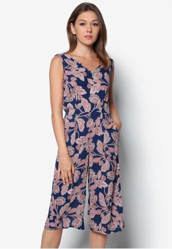 花卉寬管無袖連身褲, 服飾, zalora 泳衣服飾