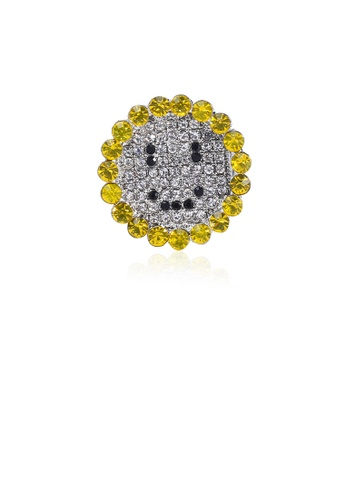 Glamorousky white Simple Bright Sunflower Brooch with Cubic Zirconia 406D6AC79D1EB0GS_1