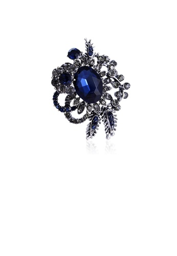 Glamorousky blue Fashion and Elegant Flower Brooch with Blue Cubic Zirconia A2595ACC187EE2GS_1