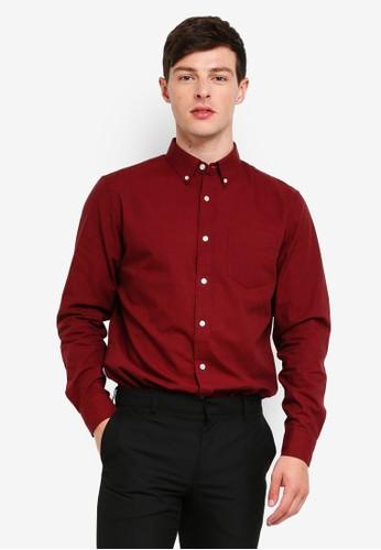Banana Republic red Camden Heathered Oxford Shirt C7DB2AA6B77D0AGS_1