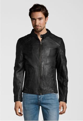 Gipsy 黑色 CAVE SF 條紋肩飾極簡風圓立領皮衣 15F85AAFEDF653GS_1