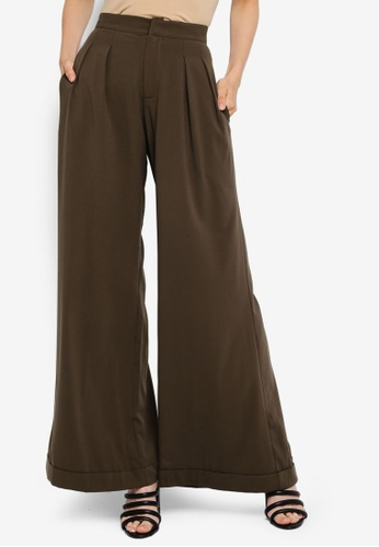 AfiqM green Wide Leg Pants F3819AA5DFD92EGS_1