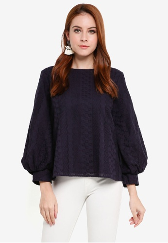 Zalia navy Eyelet Balloon Sleeves Top 8E1E7AAAD8F157GS_1