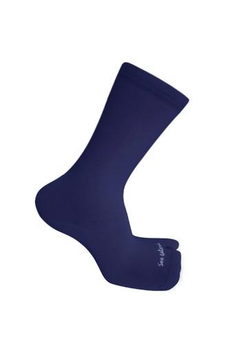 SOXGALERI blue Sox Galeri Anti-Bacterial Cotton Thumb Crew Socks for Women C0984AABB62E93GS_1