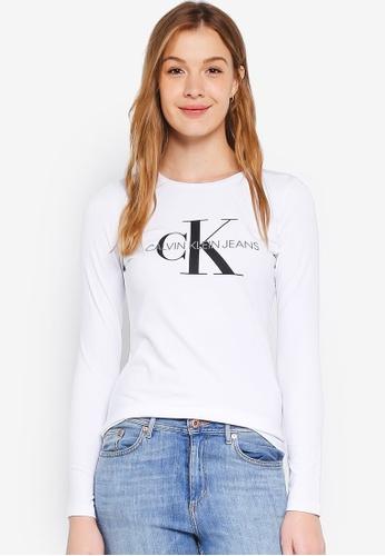 Calvin Klein white A-Monogram Logo Long Sleeve Tee - Calvin Klein Jeans 2E69DAA356284BGS_1