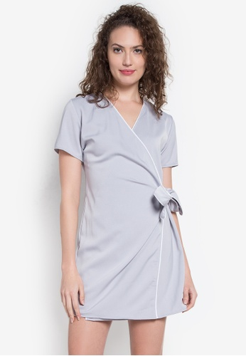 Hug grey Bias Accent Wrap Around Dress HU902AA0KDPVPH_1