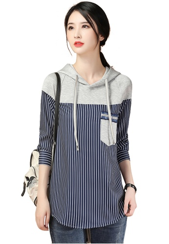 A-IN GIRLS grey and navy Fashion Hooded Striped Long Top 027E6AA2A2C8EAGS_1