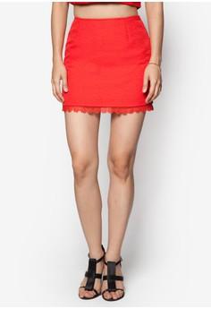 Jacquard Lace Hem Skirt