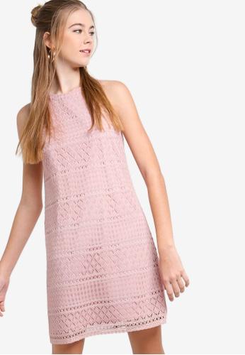 SOMETHING BORROWED pink Geometric Lace Cut In Dress EE544AA2C6CA41GS_1