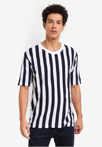 MANGO Man white and navy Striped Cotton T-Shirt B2158AAB7EB991GS_1