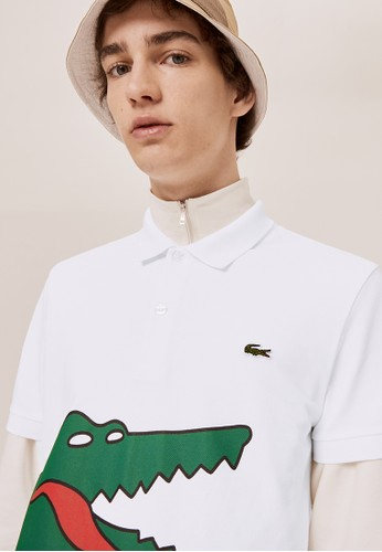 Lacoste white Unisex Lacoste x Jean-Michel Tixier Print Classic Fit Polo Shirt 582CAAABA81550GS_1