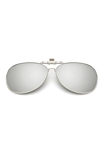 A FRENZ silver Aviator Full Rim Polarized UV400 Flip-Up Clip On Sunglasses 66F04GL5331794GS_1