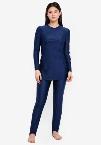 PINK N' PROPER navy Modest Azra Floral Muslimah Swimwear Set F5FFAUSAE47BD9GS_1