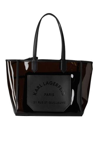 KARL LAGERFELD black K/Journey Transparent Tote D2E36AC664F415GS_1