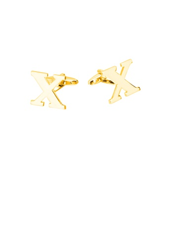 Glamorousky silver Simple Personality Plated Gold English Alphabet X Cufflinks 336A6AC94C031DGS_1