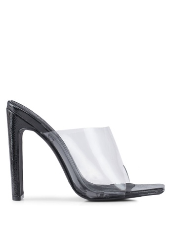 MISSGUIDED 黑色 方頭透明高跟鞋 9B393SHEB2BCDDGS_1