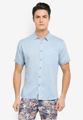 JAXON blue Contrast Fabric Short Sleeve Shirt F2388AAB7F1B8EGS_1