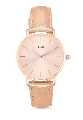 Klarf gold Petite Watch With Leather Bracelet 1407EACD417C91GS_1